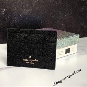 Kate Spade Black Glitter Card Case Wallet